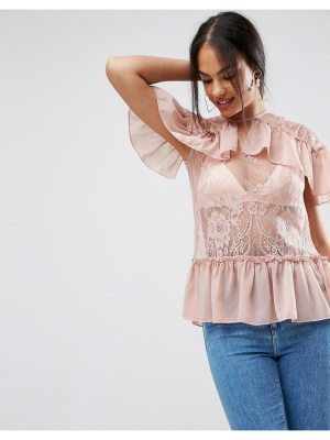 ASOS Lace Top With Ruffles