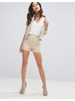 ASOS Leather Look Shorts with Scallop Hem