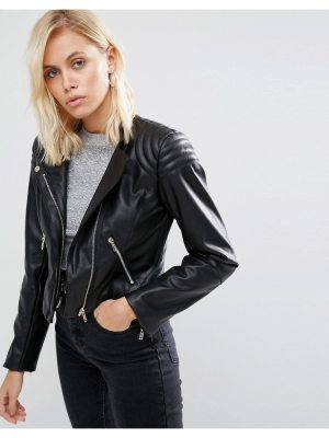 ASOS Leather Look Soft Racer Jacket