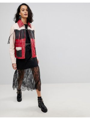 ASOS Leather Jacket with Western Fringing