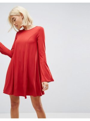 ASOS DESIGN asos mini swing dress with seam detail and trumpet sleeve