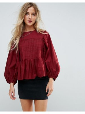 ASOS DESIGN asos pleat detail top with contrast stitching
