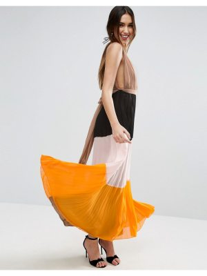 ASOS Pleated Plunge Color Block Maxi Dress