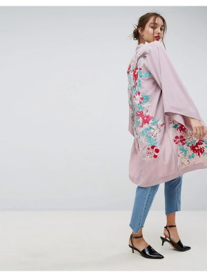 ASOS Premium Kimono Duster Jacket with Dragon Embroidery