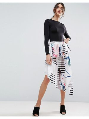 ASOS Printed Midi Skirt in Satin with Deconstructed Detail