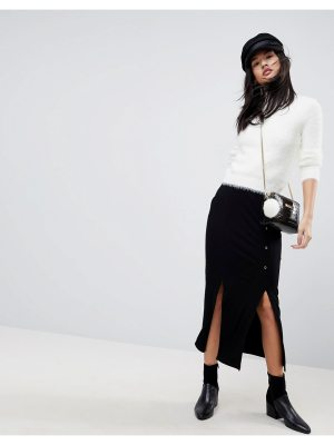 ASOS Rib Midaxi Skirt with Side Poppers and Splits