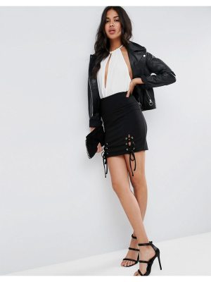 ASOS Rib Mini Skirt with Lace Up Detail