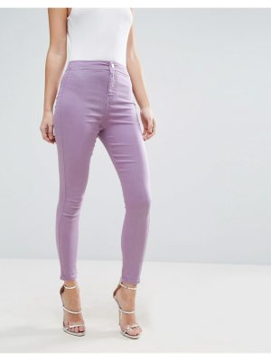 ASOS RIVINGTON High Waist Denim Jeggings in Washed Lilac