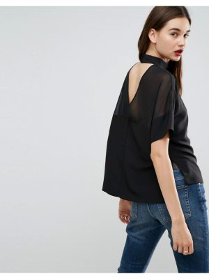 ASOS Sheer & Solid Top with Open Back