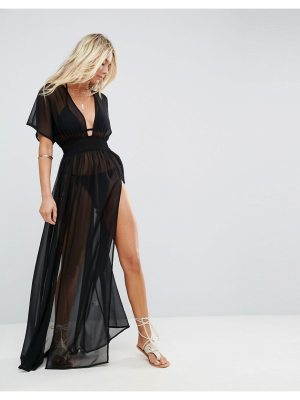 ASOS DESIGN shirred waist maxi chiffon beach caftan