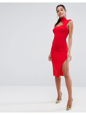 ASOS Shoulder Pad Asymmetric Bodycon Midi Dress