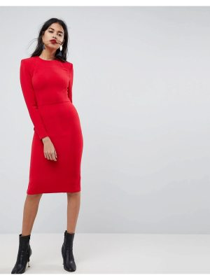 ASOS Shoulder Pad Midi Dress with Seams