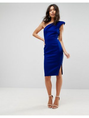 ASOS Shoulder Pad One Shoulder Midi Dress
