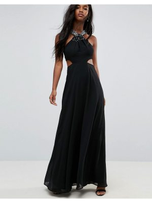 ASOS Side Cut Out Embellished Trim Maxi Dress
