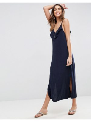 ASOS Slinky Maxi Dress With Asymmetric Frill Detail