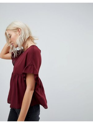 ASOS DESIGN smock top with ruffle sleeve