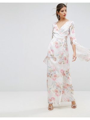 ASOS Soft Floral Sleeved Drape Maxi Dress