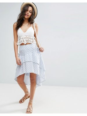 ASOS Stripe Midi Skirt with Channel Detail