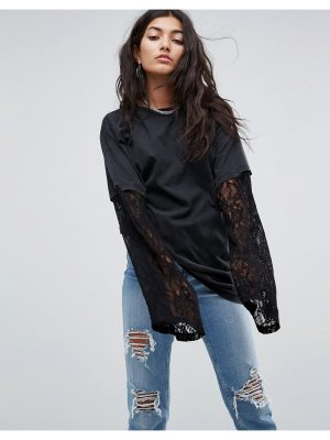 ASOS T-Shirt with Double Layer Lace Sleeve