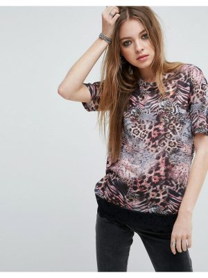 ASOS T-Shirt With Lace Hem In Mixed Animal Print