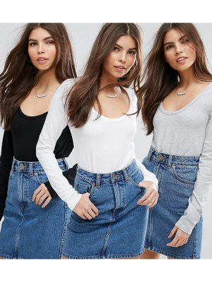 ASOS T-Shirt With Long Sleeve and Scoop Neck 3 Pack