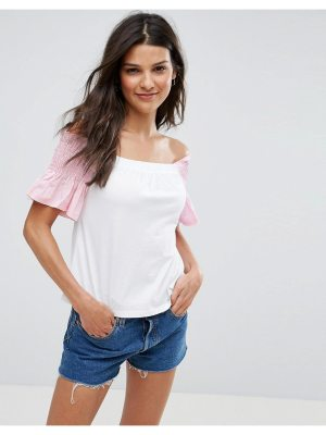 ASOS T-Shirt with Off Shoulder in Stripe & Shirring Ruffle Sleeve