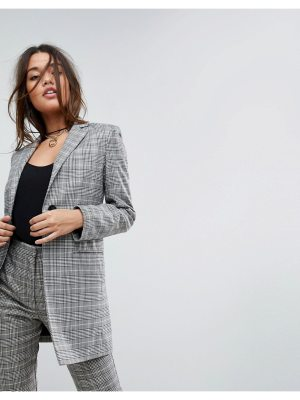 ASOS Tailored Longline Slim Check Double Breasted Blazer