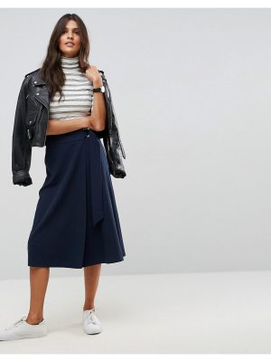 ASOS Tailored Midi Skirt with Pleat and Solid Detail