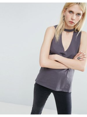 ASOS Tank Top with Choker Plunge Neck