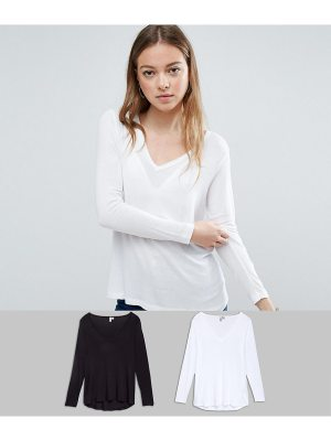 ASOS The New Forever T-Shirt With Long Sleeves and Dip Back 2 Pack