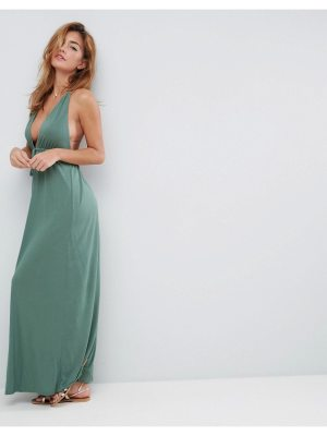 ASOS Tie Front Plunge Jersey Maxi Beach Dress