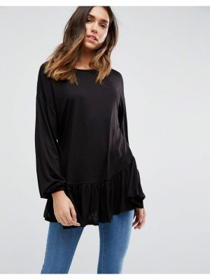 ASOS DESIGN top with balloon sleeve and ruffle hem