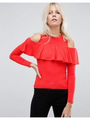 ASOS Top with Cold Shoulder Ruffle Detail