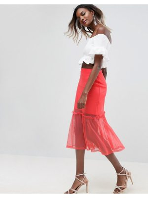 ASOS Tulle Midi Skirt with Ruffle Detail