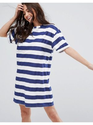 ASOS Ultimate T-Shirt Dress with Rolled Sleeves in Stripe