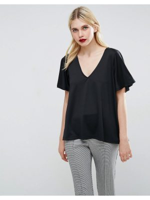 ASOS V Neck Top With Pleat Back Detail