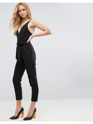 ASOS Wrap Front Jumpsuit with Peg Leg and Self Belt