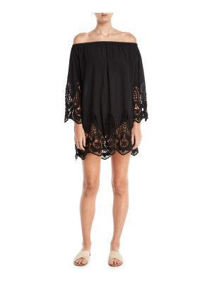 Athena Mystique Off-the-Shoulder Tunic Dress with Lace