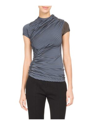 Atlein Dotted-Stripe Ruched Jersey Top