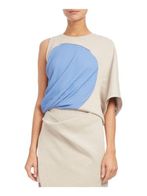 Atlein One-Shoulder Ribbed-Inset Top