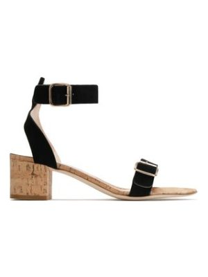 Atp Atelier buckled suede and cork sandals