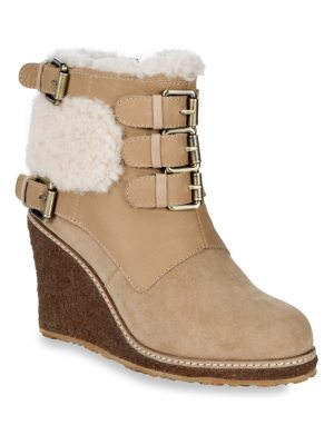 Australia Luxe Collective Monk Strap Shearling Wedge Boots