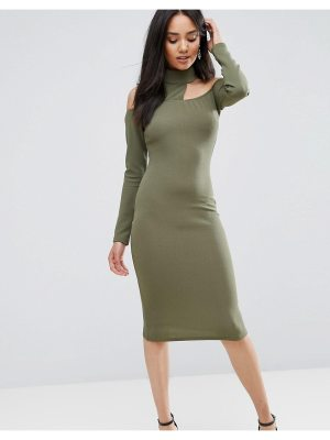 AX Paris Ax Paris Khaki Midi Bodycon Dress