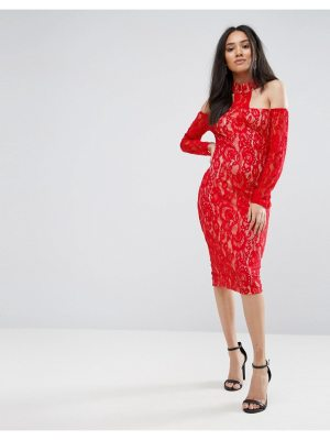 AX Paris red t-bar lace choker midi dress