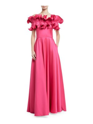 Badgley Mischka Collection Off-the-Shoulder Ruffle A-Line Gown