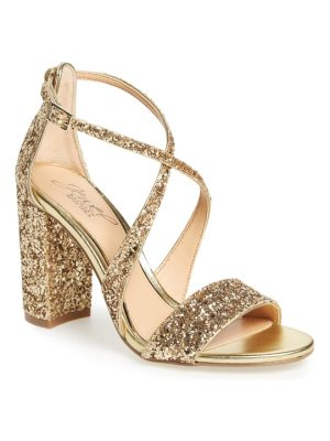 JEWEL BADGLEY MISCHKA cook block heel glitter sandal