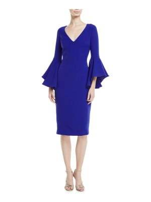 Badgley Mischka Flair-Sleeve V-Neck Sheath Dress