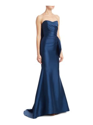 Badgley Mischka mikado strapless flared gown