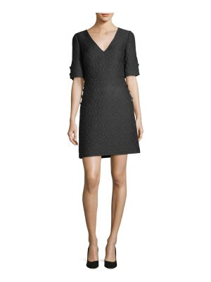 Badgley Mischka V-Neck Brocade Jewel-Button Dress