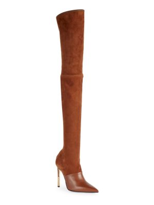 Balmain amazone suede & leather thigh-high boots